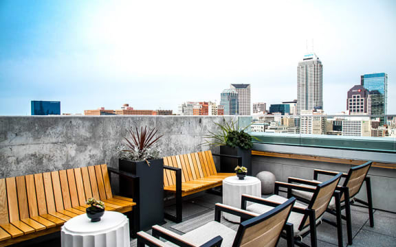 Rooftop Benches and Tables at CityWay, Indianapolis, 46204
