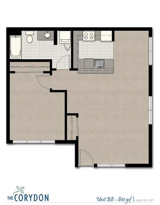 Floor Plan  One Bedroom B8 FloorPlan at The Corydon, Seattle, Washington, opens a dialog