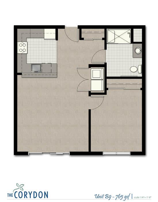 Floor Plan  One Bedroom B9 FloorPlan at The Corydon, Seattle, opens a dialog