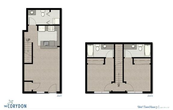 Floor Plan  Townhome TH3 FloorPlan at The Corydon, Seattle, WA, opens a dialog