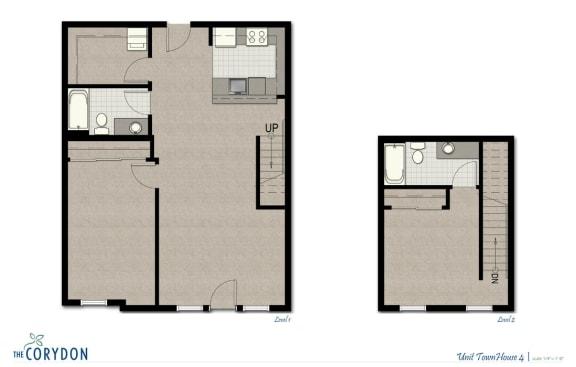 Floor Plan  Townhome TH4 FloorPlan at The Corydon, Seattle, Washington, opens a dialog