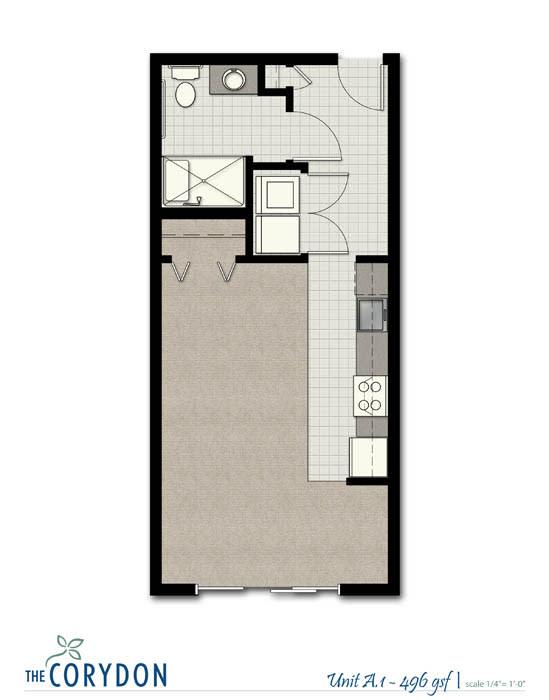Floor Plan  Studio A1 FloorPlan at The Corydon, Seattle, 98105, opens a dialog