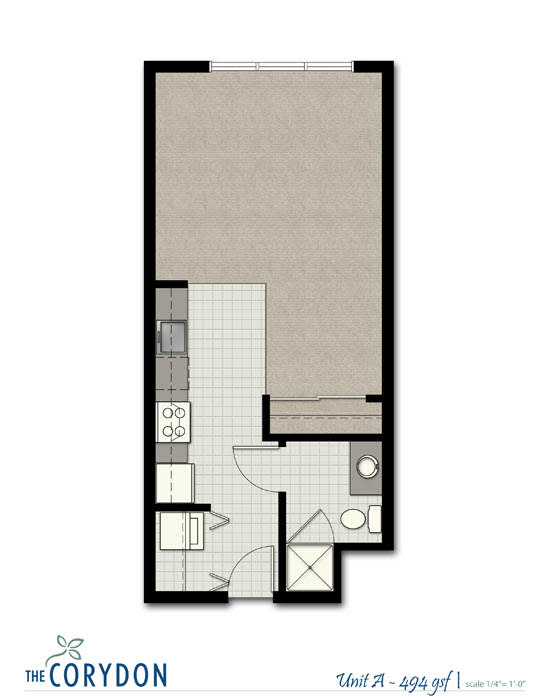 Studio A FloorPlan at The Corydon, Seattle, WA, 98105