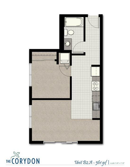 Floor Plan  One Bedroom B2 A FloorPlan at The Corydon, Seattle, WA, 98105, opens a dialog