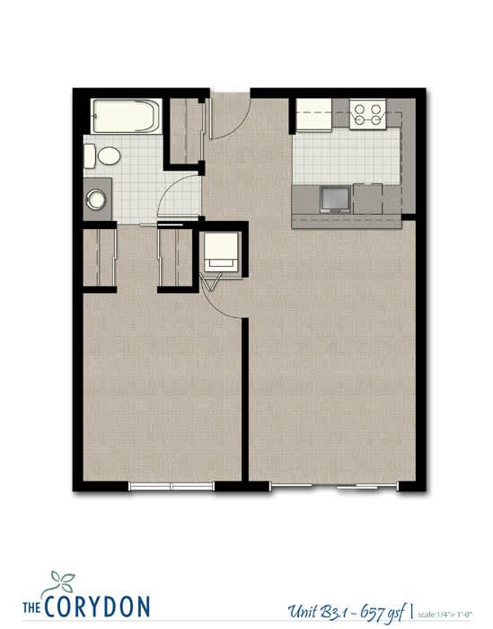 Floor Plan  One Bedroom B3 1 FloorPlan at The Corydon, Washington, 98105, opens a dialog