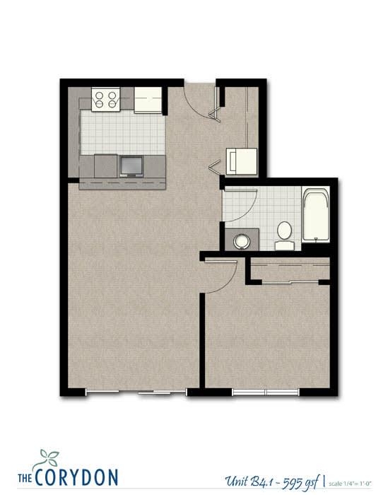 Floor Plan  One Bedroom B4 1 FloorPlan at The Corydon, Seattle, 98105, opens a dialog