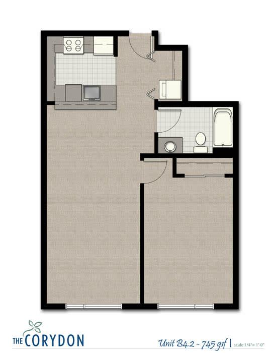 Floor Plan  One Bedroom B4 2 FloorPlan at The Corydon, Seattle, opens a dialog