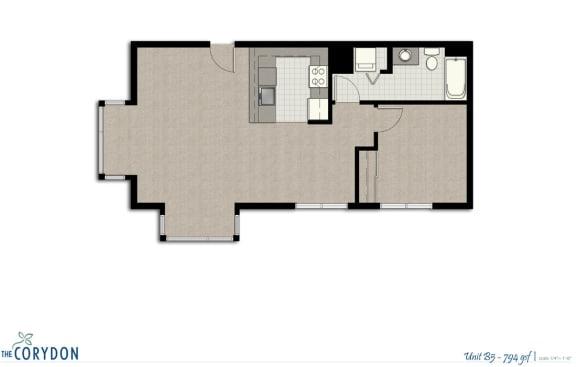 Floor Plan  One Bedroom B5 FloorPlan at The Corydon, Seattle, Washington, opens a dialog