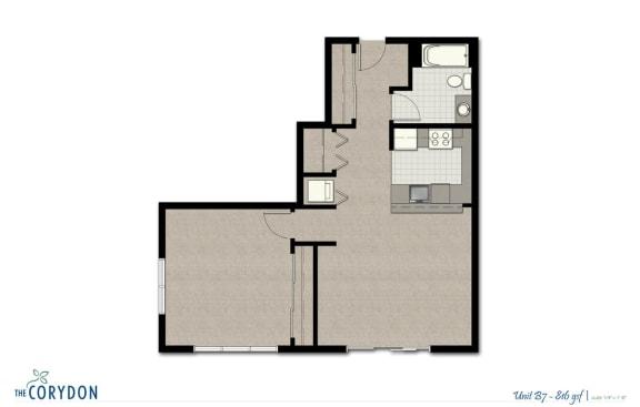 Floor Plan  One Bedroom B7 FloorPlan at The Corydon, Washington, opens a dialog