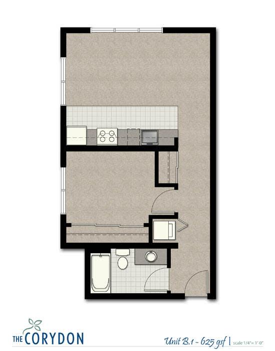Floor Plan  One Bedroom B1 FloorPlan at The Corydon, Seattle, opens a dialog