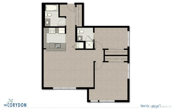 Two Bedroom C2 FloorPlan at The Corydon, Seattle