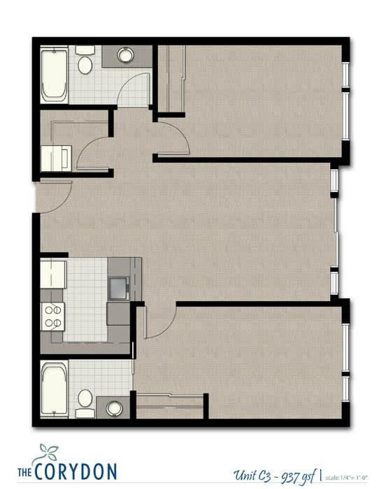 Floor Plan  Two Bedroom C3 FloorPlan at The Corydon, Washington, 98105, opens a dialog