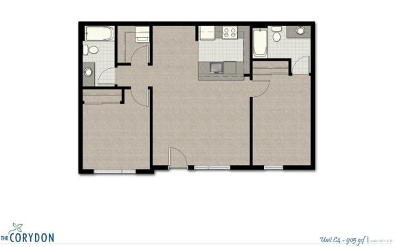 Floor Plan  Two Bedroom C4 FloorPlan at The Corydon, Seattle, WA, opens a dialog