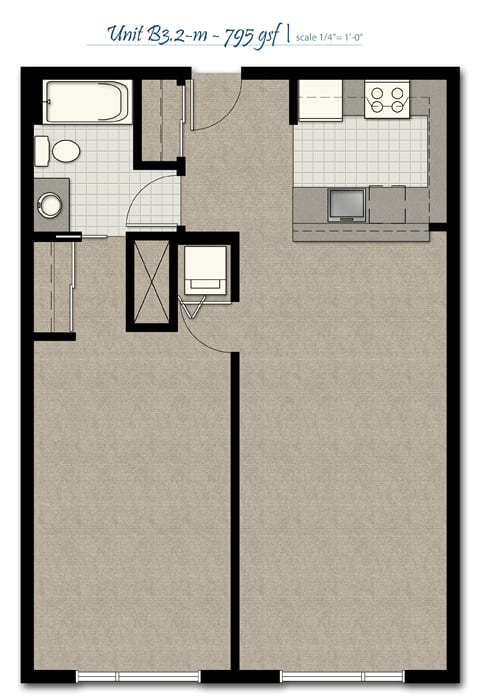 Floor Plan  One Bedroom B3 2 M FloorPlan at The Corydon, Seattle, WA, opens a dialog