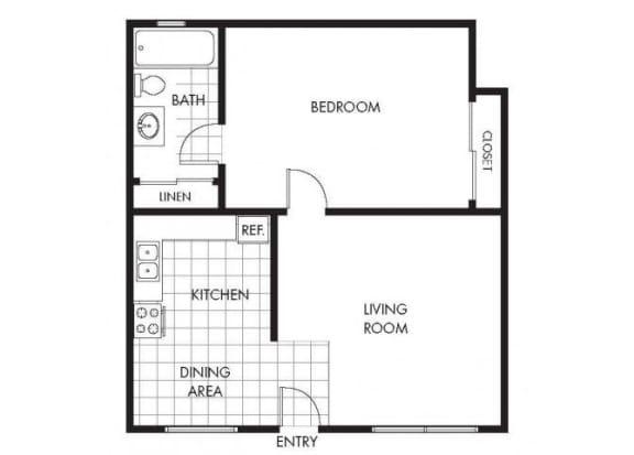 Floor Plan  One Bedroom One Bathroom Layout A Floor Plan at Marina Crescent Apartments, Marina, 93933