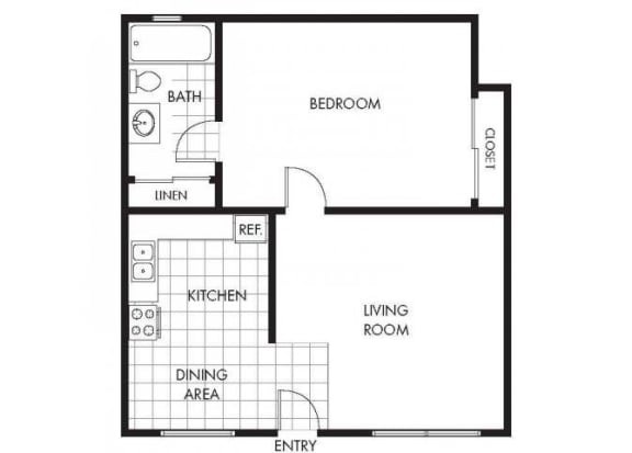 One Bedroom One Bathroom Layout B Floor Plan at Marina Crescent Apartments, Marina, California
