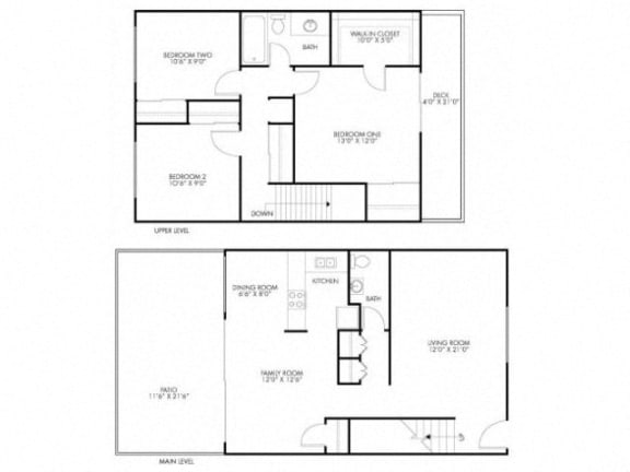 3 Bedroom 1.5 Bath Floor Plan at Monterey Townhouse, Monterey, CA