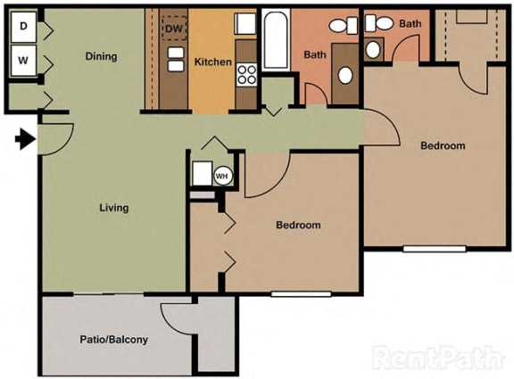 Large 2 Bedroom, 1.5 Bath Floor Plan at Creekside Square, Indianapolis, Indiana