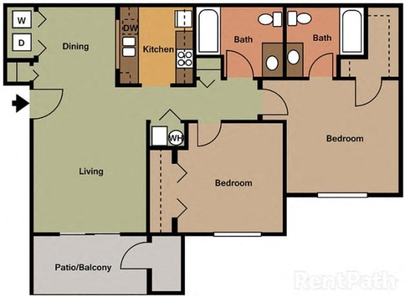 Beautiful 2 Bedroom, 2 Bath Floor Plan at Creekside Square, Indianapolis, IN