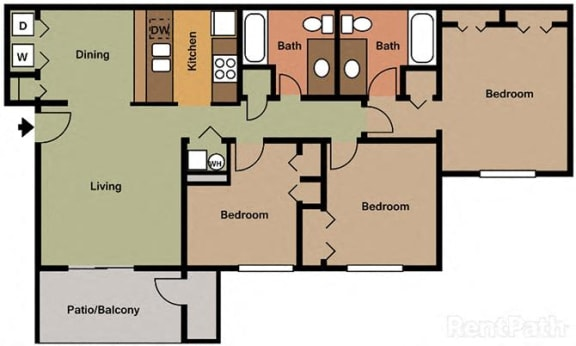 Huge 3 Bedroom, 2 Bath Floor Plan at Creekside Square, Indiana