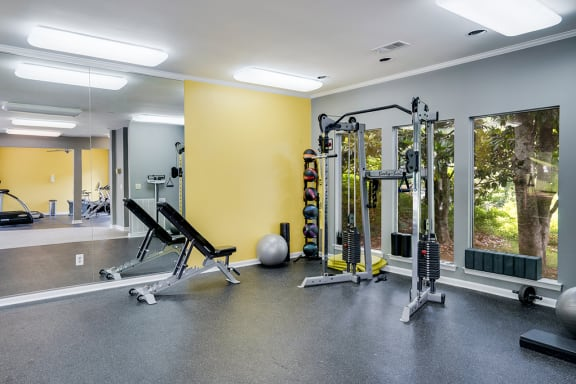 Large Windows and Floor to Ceiling Mirrors in the Fitness Center