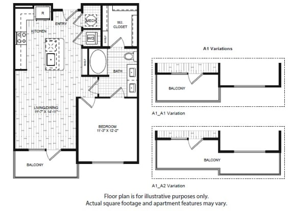 A1(1) Floor Plan at Windsor Old Fourth Ward, Atlanta, 30312