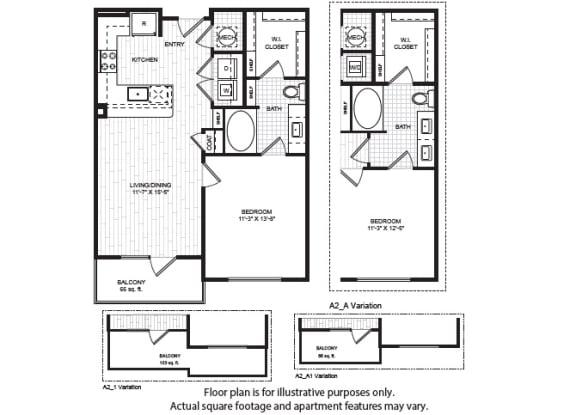 A2(1) Floor Plan at Windsor Old Fourth Ward, Atlanta, Georgia