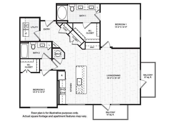 Floor Plan  B6(1) Floor Plan at Windsor Old Fourth Ward, Atlanta, GA, 30312