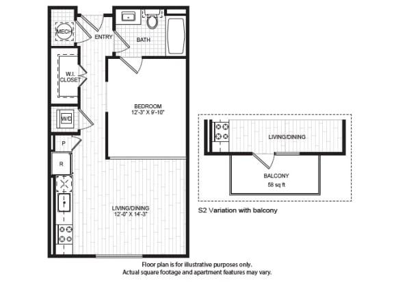 Floor Plan  S2(1) Floor Plan at Windsor Old Fourth Ward, Atlanta, GA, 30312