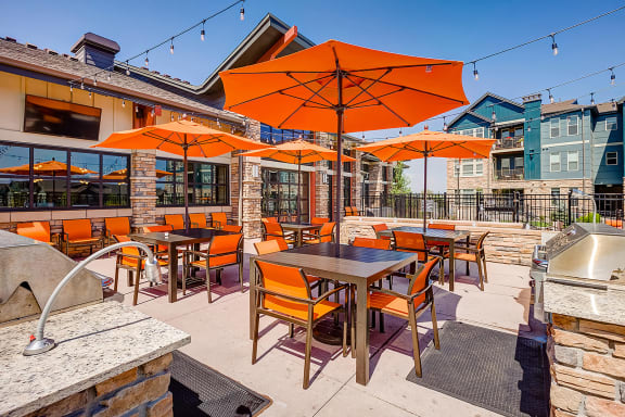 Outdoor seating at Windsor at Pinehurst, 3950 S Wadsworth Blvd, 80235