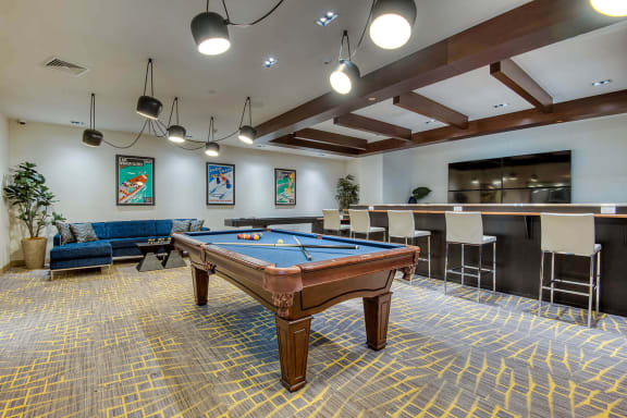 Pool table at Windsor at Hopkinton, Hopkinton, Massachusetts