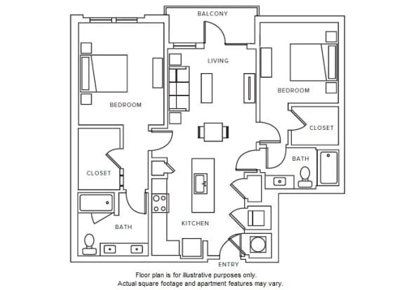 Floor Plan  B1 floor plan at Windsor Parkview, Georgia, 30341
