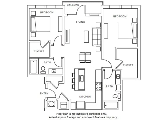 Floor Plan  B2 floor plan at Windsor Parkview, Chamblee, Georgia