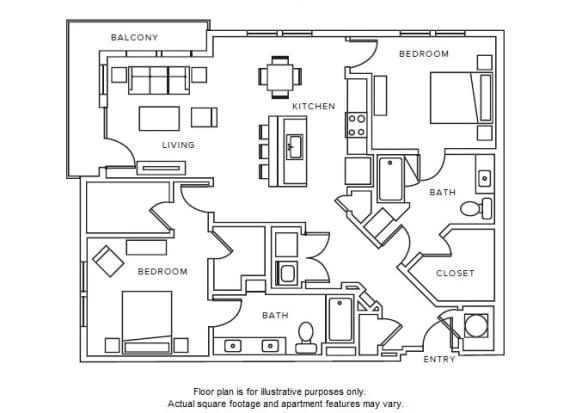 Floor Plan  B8 floor plan at Windsor Parkview, Chamblee, GA