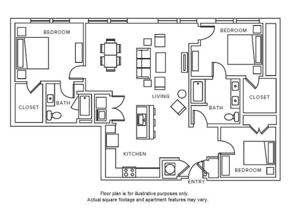 Floor Plan  C1 floor plan at Windsor Parkview, Chamblee, Georgia