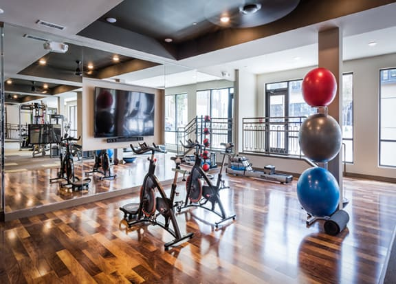 Spin bikes and yoga room at Windsor Parkview, Georgia, 30341