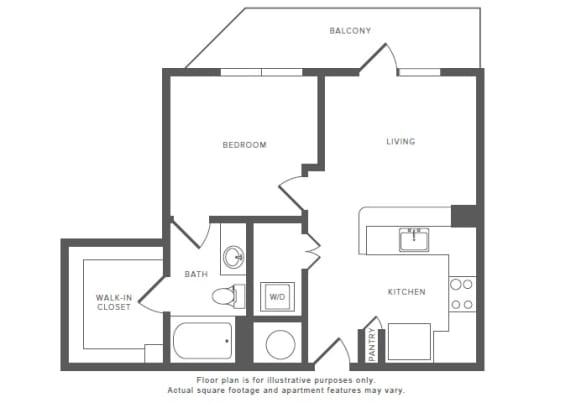 Floor Plan  1 Bed 1 Bath A1 Floor Plan at Windsor by the Galleria, Dallas, TX, opens a dialog