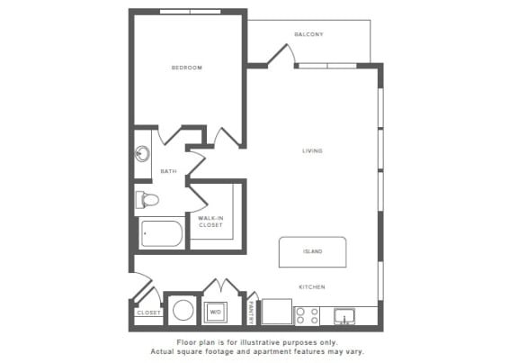 1 Bed 1 Bath A11 Floor Plan at Windsor by the Galleria, Texas
