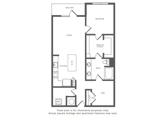 1 Bed 1 Bath A13S Floor Plan at Windsor by the Galleria, Dallas, TX, 75240