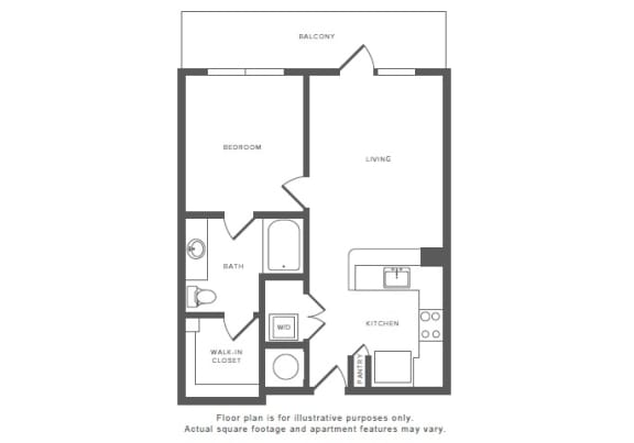 Floor Plan  1 Bed 1 Bath A2 Floor Plan at Windsor by the Galleria, Dallas, 75240, opens a dialog