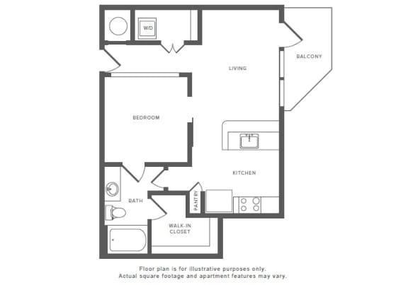 Floor Plan  1 Bed 1 Bath A3 Floor Plan at Windsor by the Galleria, Dallas, Texas, opens a dialog