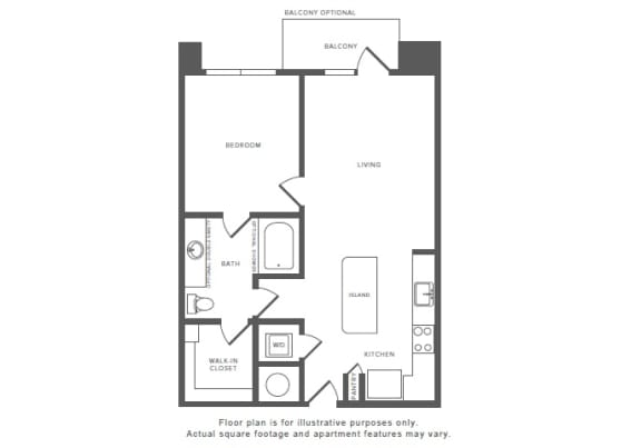 1 Bed 1 Bath A7.1 Floor Plan at Windsor by the Galleria, Dallas, 75240