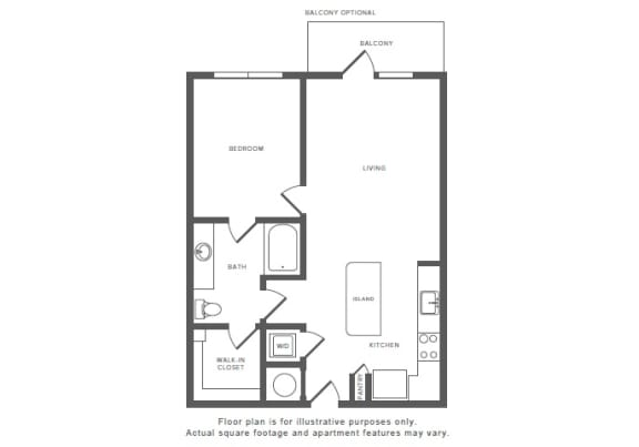 1 Bed 1 Bath A7 Floor Plan at Windsor by the Galleria, Dallas, TX, 75240