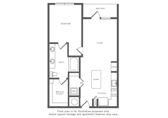 Floor Plan  1 Bed 1 Bath A9 Floor Plan at Windsor by the Galleria, Dallas, opens a dialog