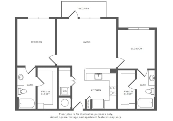 Floor Plan  2 Bed 2 Bath B1 Floor Plan at Windsor by the Galleria, Dallas, TX, opens a dialog