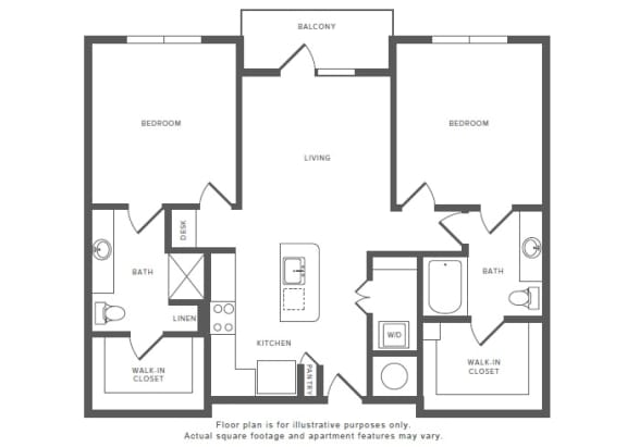 2 Bed 2 Bath B3 Floor Plan at Windsor by the Galleria, Dallas, Texas