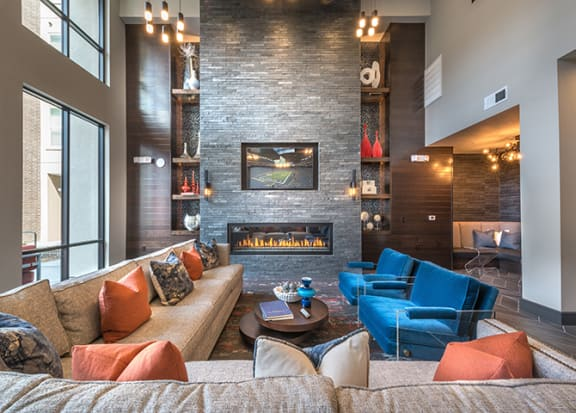 Media Lounge With Plush Seating And Tvs at Windsor by the Galleria, Dallas, TX, 75240
