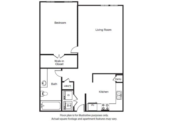 Floor Plan  One Bed One Bath A2 Floor Plan at Windsor West Lemmon, Dallas, TX