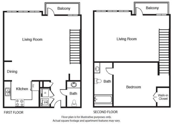 Floor Plan  1 Bed 1.5 Bath Floor Plan A5 Floor Plan at Windsor West Lemmon, Dallas