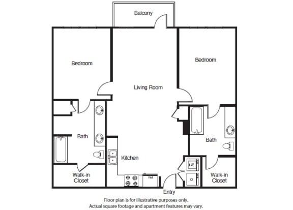 Floor Plan  2 Bed 2 Bath B2 Floor Plan at Windsor West Lemmon, Dallas, Texas